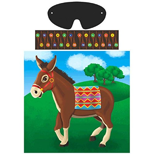 "Amscan Carnival Fair Fun Pin The Tail On The Donkey Game Party Activity, Multicolor, 17"" X 17 1/4"""