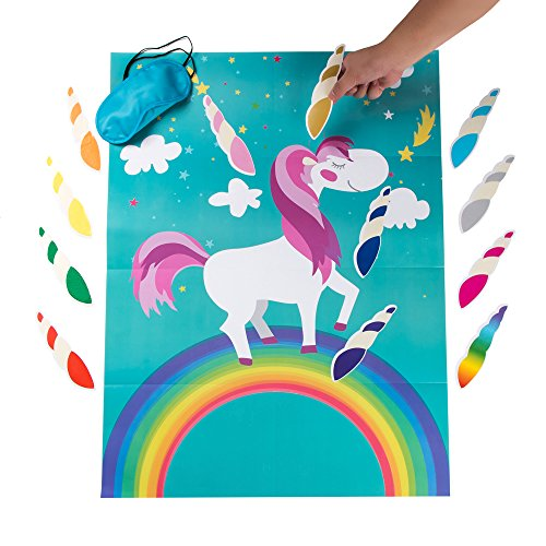 MISS FANTASY Pin the Horn on the Unicorn Birthday Party Favor Games Party Supplies Decorations