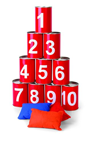 Carnival Bean Bag Can Toss Game - Circus Party Game Great For BBQs, Kids Birthday Parties - W/ 10 Real Tin Cans and 3 Beanbags by Ideas In Life