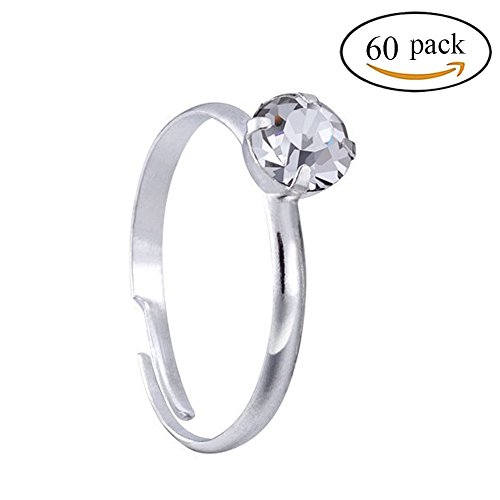Topoox 60 Pack Silver Diamond Wedding Engagement Rings For Bridal Shower Party Favors Table Decorations