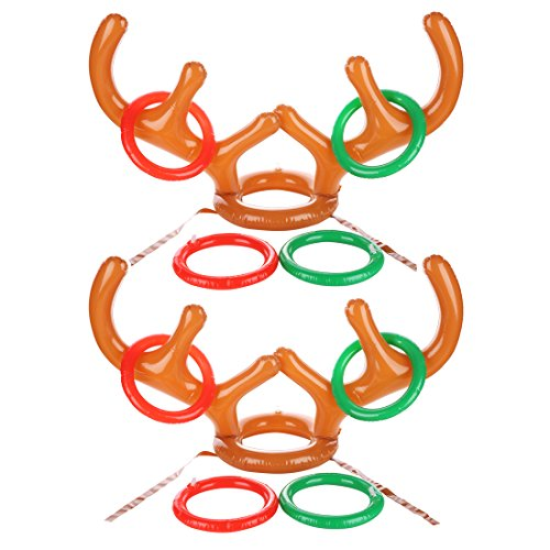 5fd1972760c6d Uniqhia Two-Player Inflatable Reindeer Antler Ring Toss Game for Christmas  Party