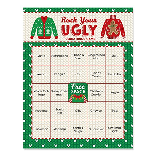 ugly sweater holiday christmas party bingo game bar bingo cards 16 count - Christmas Games For Groups