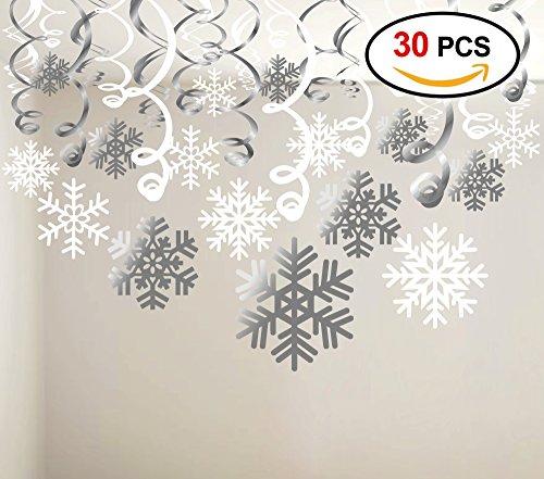 Snowflake Swirls Decoration(30pcs), Konsait Merry Christmas Snowflake Hanging Swirls Garland Foil Ceiling ornaments for Xmas Winter Wonderland Holiday Party Decor Supplies,Already Assembled