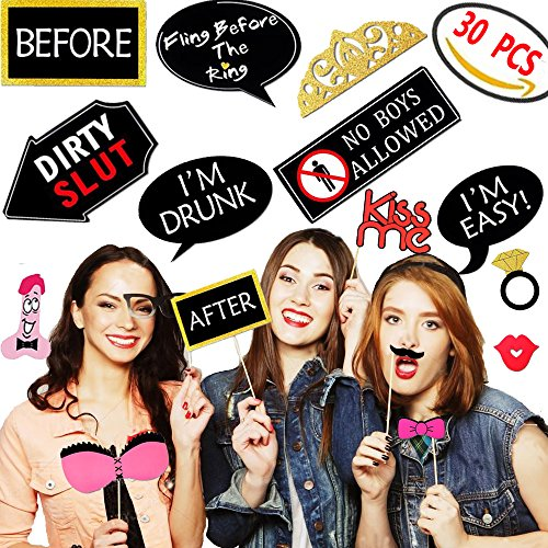 bachelorette party photo booth props kit 30 pcs bridal shower funny naughty decorations