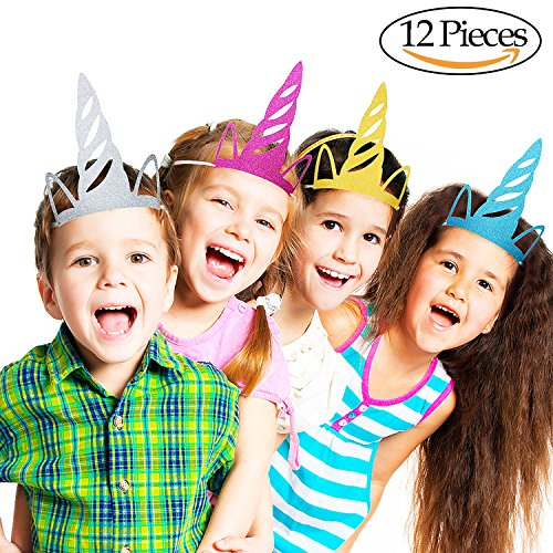 Onshine 12PCS Unicorn Party Hats Glitter Unicorn Party Supplies Colored Party Decorations for Kids and Adults