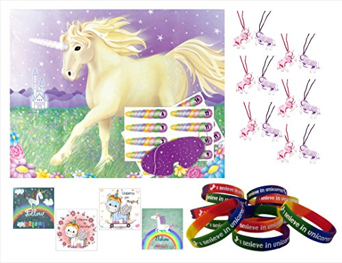 Unicorn Party Supplies Bundle with Unicorn Party Favors (48) and Pin the Horn on the Unicorn Party Game