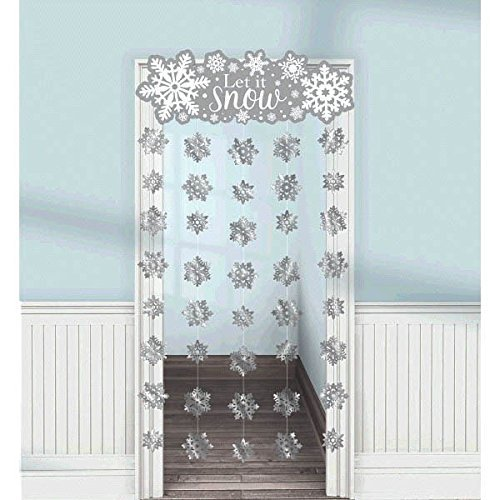 "Amscan Winter Wonderland Christmas Party Snowflake Doorway Curtain Decoration (1 Piece), Silver/White, 39"" x 78"""