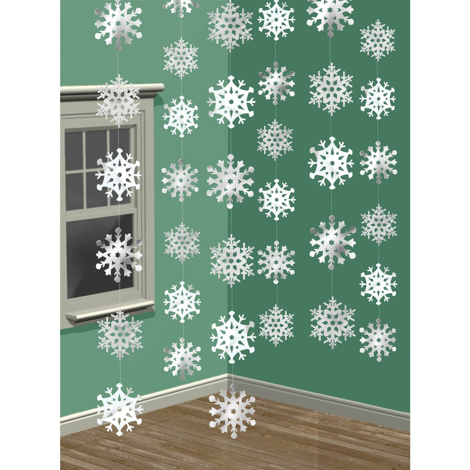 "Amscan Winter Wonderland Christmas 3-D Snowflake Hanging Party Decoration, White, 14 1/4"" x 13"""